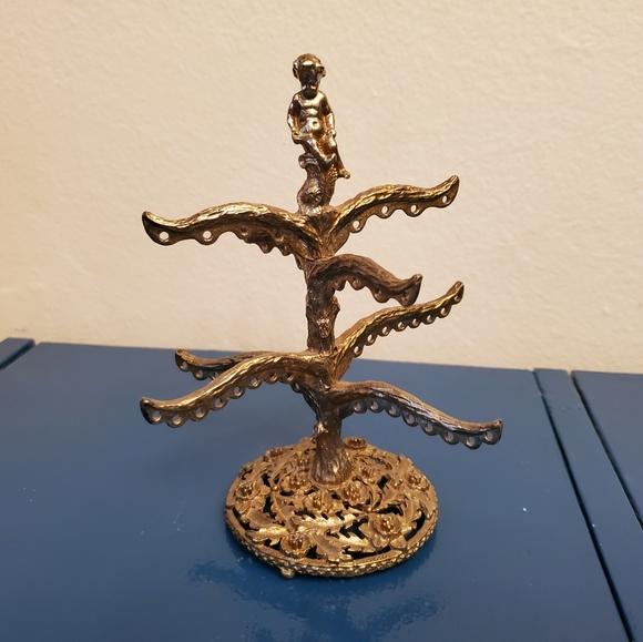 Silver gilt cherub jewelry tree
